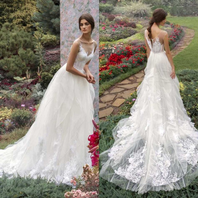 2020 Wedding Dresses Jewel Capped Sleeves Backless Lace Appliqued Bridal Gowns Custom Made Sweep Train A-Line Wedding Dress