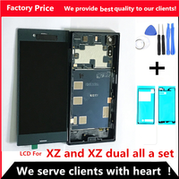 """5.2"""" LCD For SONY Xperia XZ Display F8331 F8332 Touch Screen Digitizer Replacement Parts For SONY XZ Display Frame back cover"""
