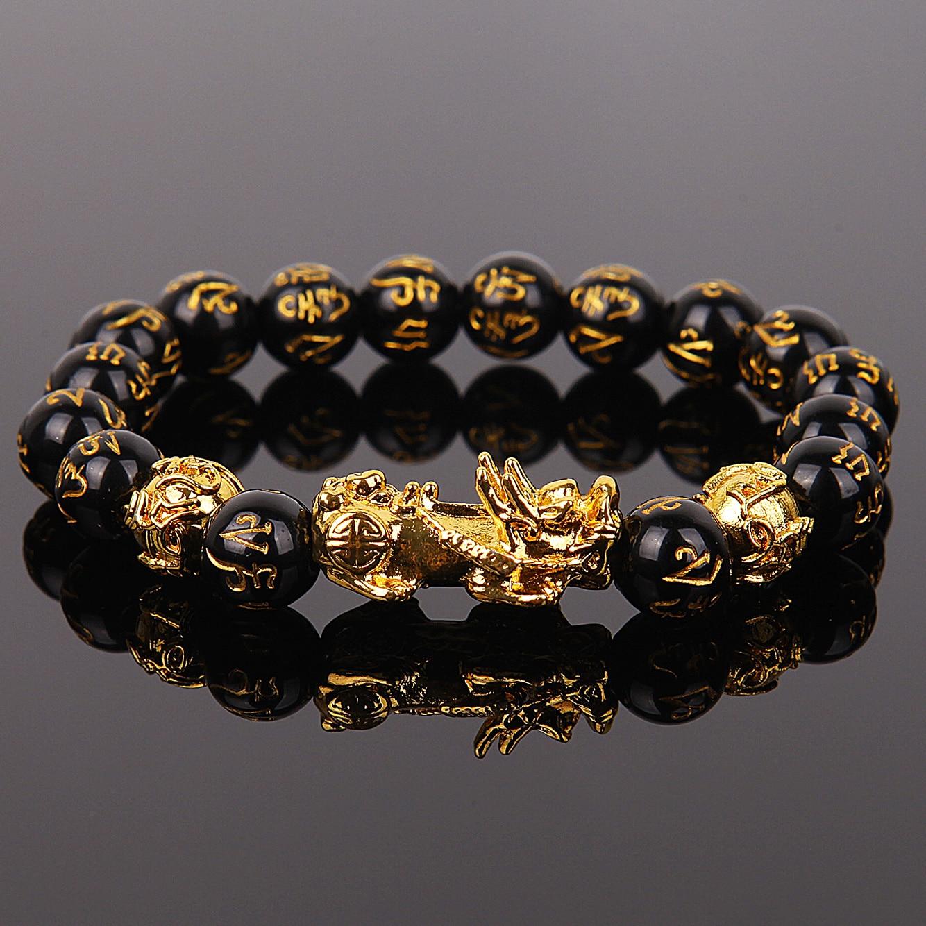 Wealth and Good Luck Chinese Fengshui Pixiu Bracelet Unisex Wristband Men Women Bracelets Obsidian Beads Bracelet Jewelry Gift