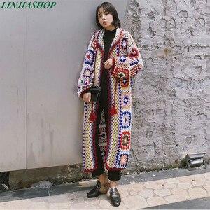Image 1 - Женский вязаный свитер ручной работы, однотонный вязаный свитер с длинными рукавами, осенний свитер высокого качества, 2019