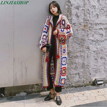 2019 new fashion pure handmade knitted winter sweater coat patchwork open stitch long sleeve high quality autumn sweaters