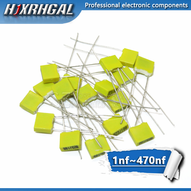 5pcs Polypropylene Safety Plastic Film 100V 1nF ~ 470nF 220nf 10nf 47nf 22nf 1nf 0.47uf 0.1uf Correction Capacitor HJXRHGAL