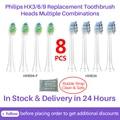 8 шт Philips Замена Зубная щётка головки для HX3/6/9 серии Алмазная Чистая/Sonicare/Flexcare/Здоровый Белый/легко чистить/Elite + и т. д