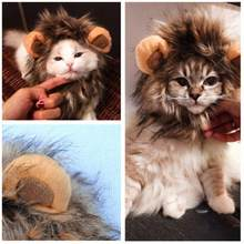 Funny Cute Pet Cat Costume Lion Mane Pet Cat Dog Wig Emulation Lion Hair Wig Cap Hat For Cat Dog Christmas Clothes Fancy Cap(China)