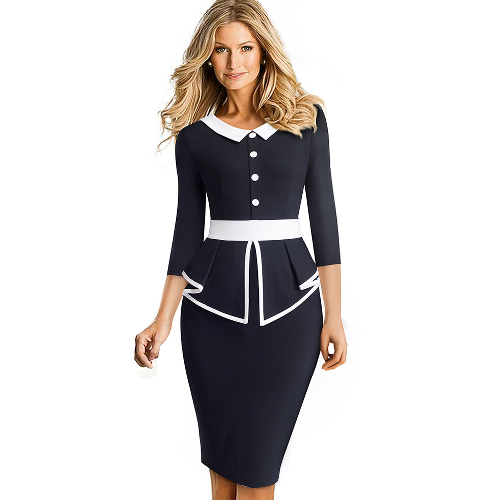 Elegant Contrast Color Patchwork Office With Botton Ruffle Vestidos Business Formal Winter Bodycon Women Dress 1090 Shop