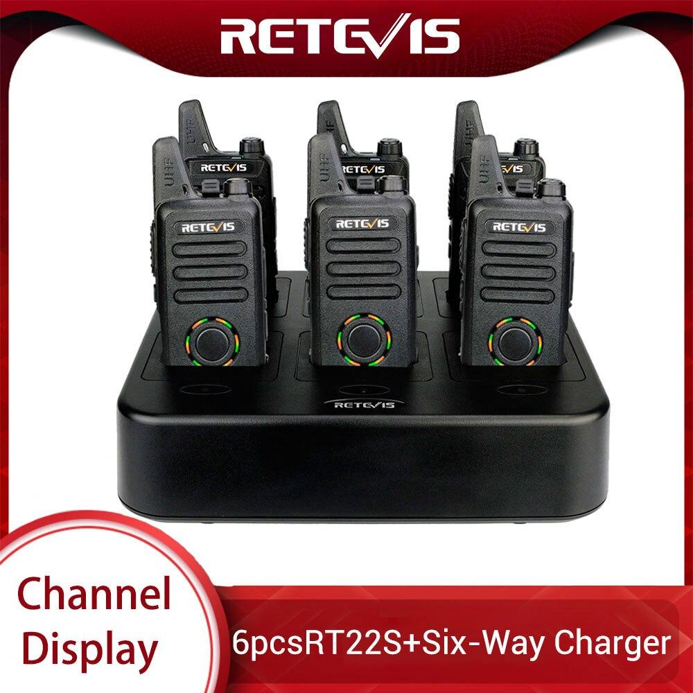 6pcs Retevis RT22S Two Way Radio Mini Walkie Talkie + Six-Way Charger RT22 Upgrade VOX Hidden Display Walkie Talkie Transceiver