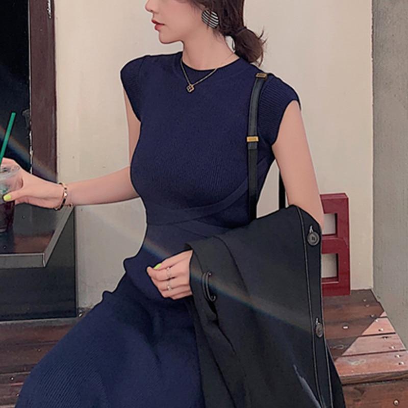 2020 New Women Slim Tank Dresses Split O Neck Knitted Long Dress Elegant Ladies Sleeveless Bodycon Sweater Dresses Vestidos 2