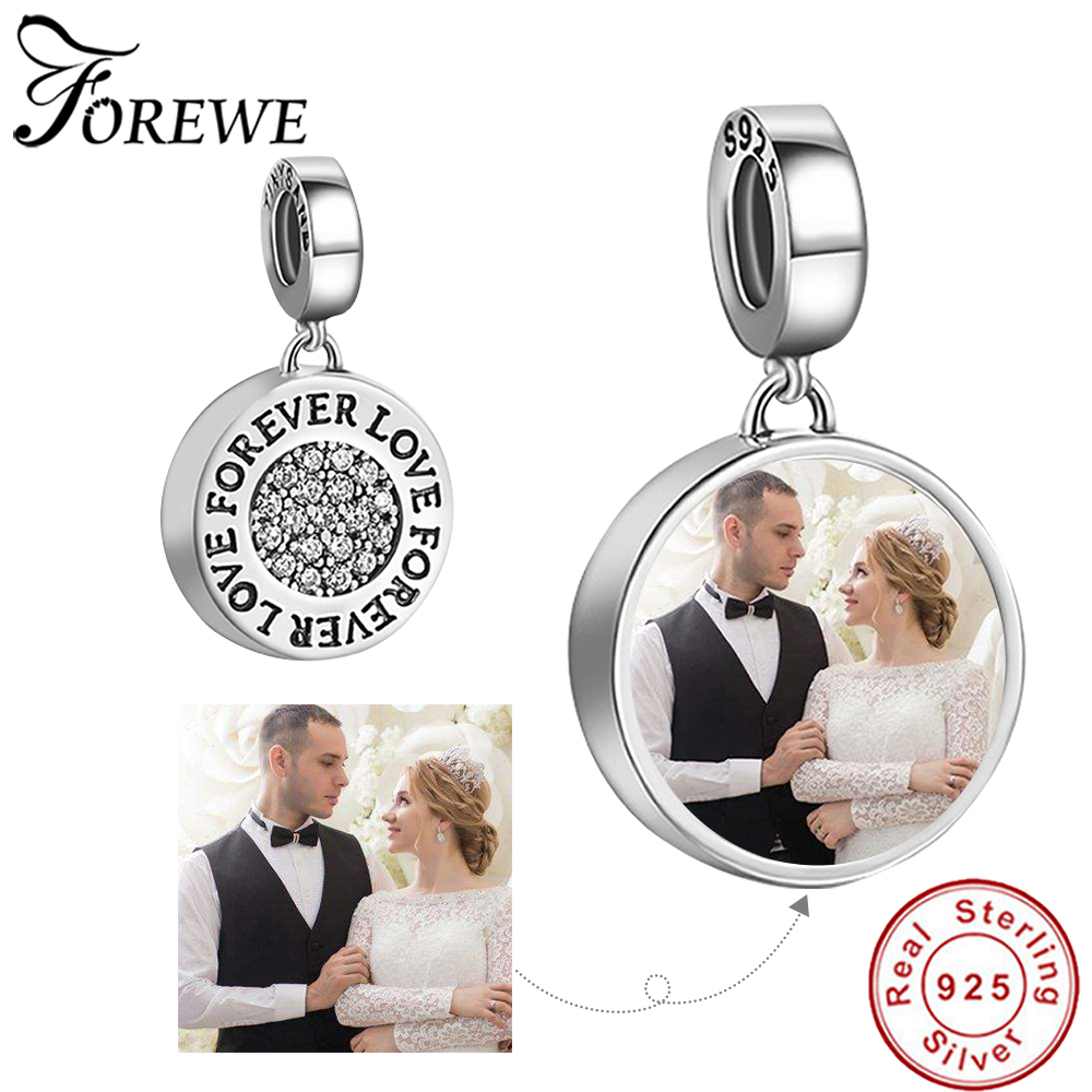 Personalized Custom Photo Real 925 Sterling Silver Crystal Forever Love Charm Beads Fit Pandora Bracelet Original Jewelry Making