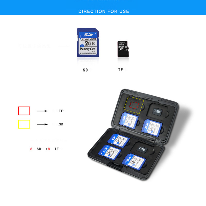 Image 5 - Portable Black Aluminum Memory Card Case 16 Slots (8+8) for Micro SD SD/ SDHC/ SDXC Card Storage Holder New Card Case-in Memory Card Cases from Computer & Office