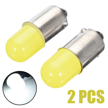 2pcs DC 12V BA9S T4W super bright Round 3D COB LED Pure White Car License Plate Marker Light Bulb FOR Auto Interior Lights 10pcs heat durable t4w led ba9s cob 30ma round 3d t11 363 1 smd car license plate light bulb for car door lamp white 12v