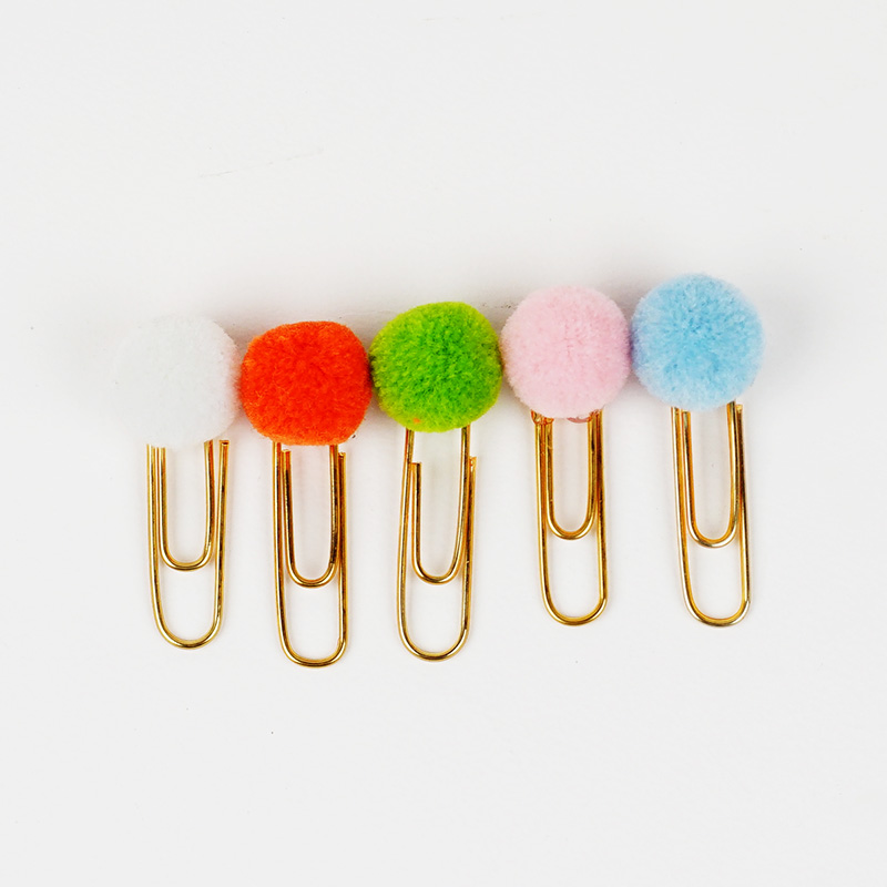 5 Pcs/pack Cute Hairball Rose Gold Metal Paper Clip Bookmark Stationery School Office Supply Escolar Papelaria