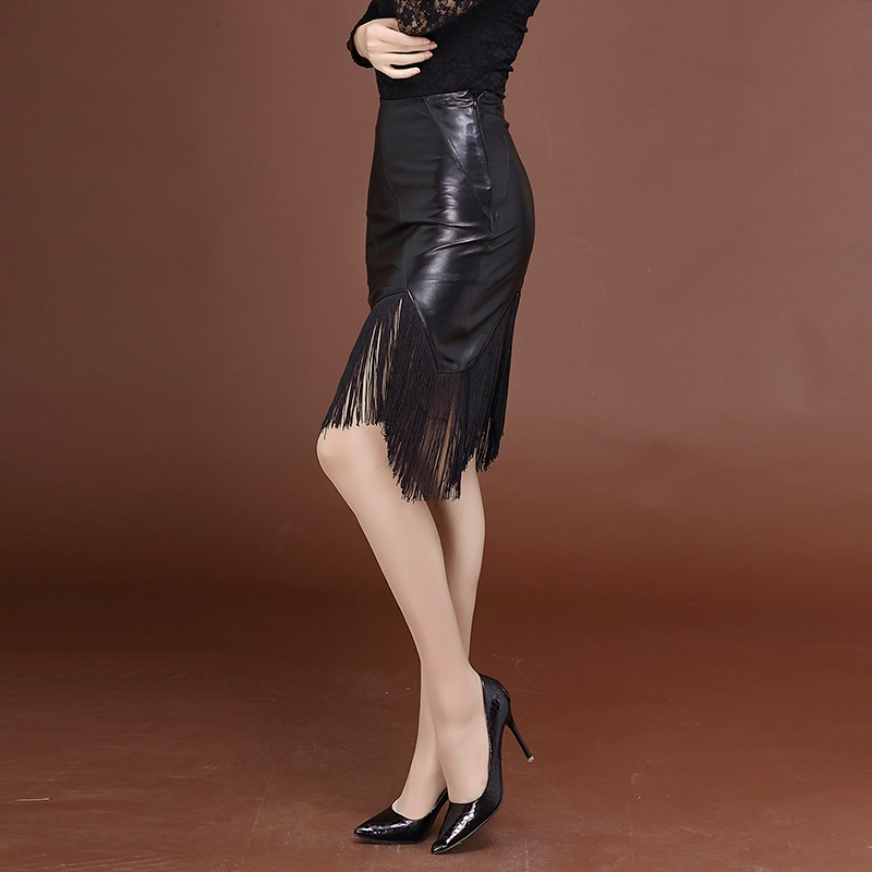 2019 Real Leather Skirt Elegant Slim One-step Skirt Sheep Leather Skirt Plus Size Genuine Leather Skirts OW03