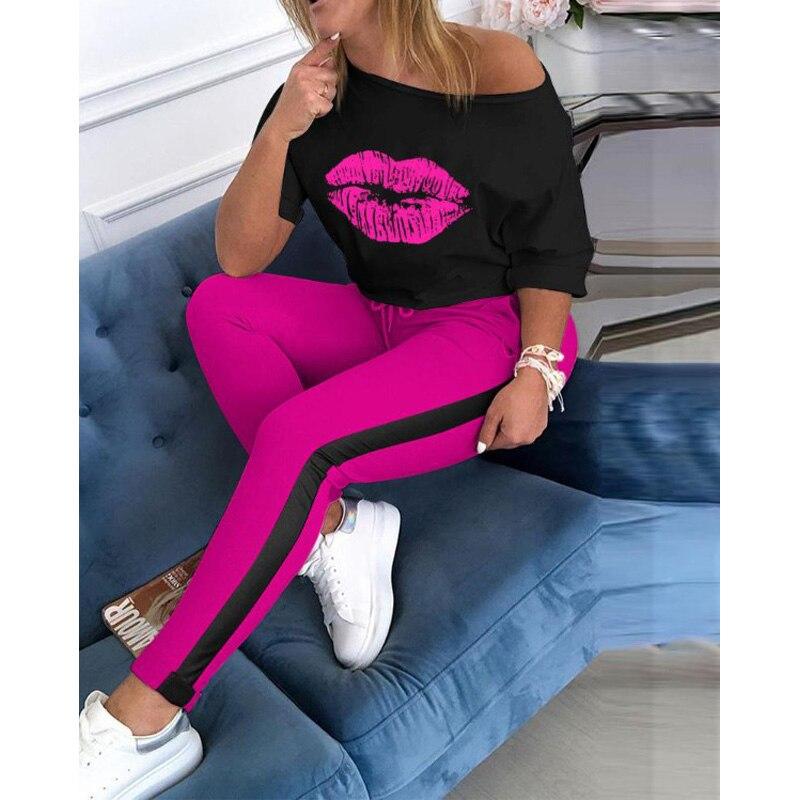 Lip Prined Women Tracksuit Sets 2 Piece Outifits Short Sleeve Off Shoulder Tee Top + Pants Suit Casual Female Sweatsuit Set 2020