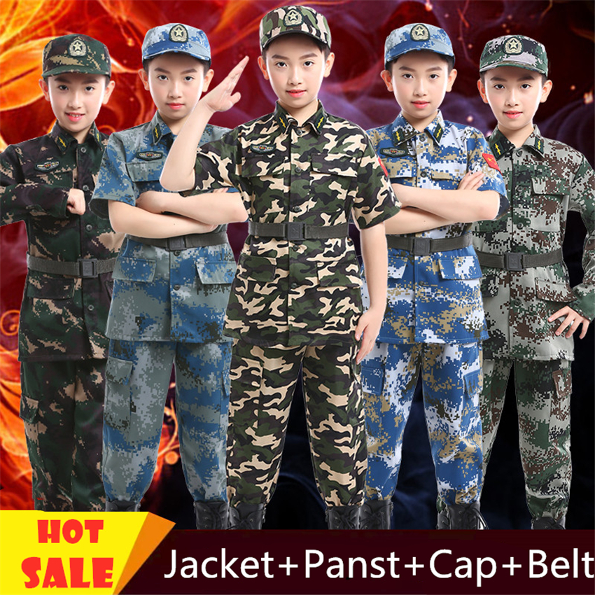 Camouflage Military Costumes for Children Tactical Combat Uniform Jacket Pants Set Summer Camp Training Hunting Army Suit