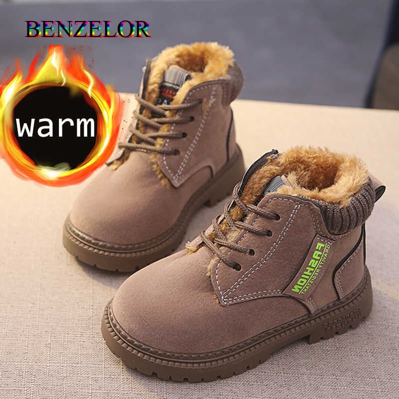 ankle Children winter snow boots suede