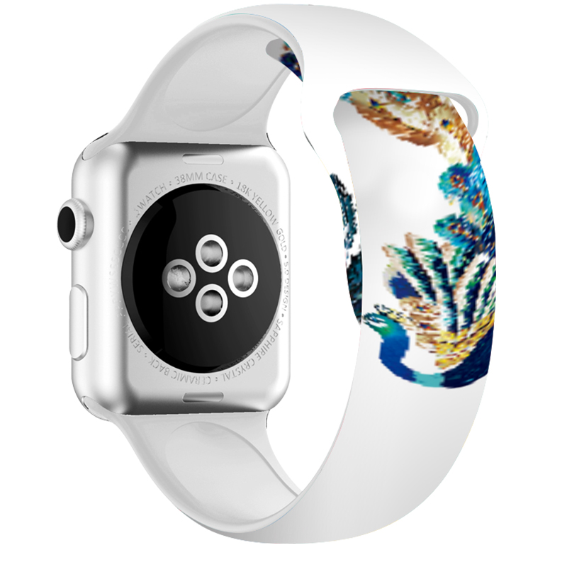Animal Print Strap For Apple Watch Series 5 44mm 40mm Peacock White Band 38mm 42mm Silicone Watch Bracelet For I Watch 3 2 1