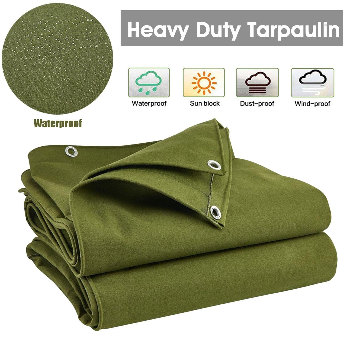 Large Heavy Duty Canvas Tarp Tarpaulin Sun Blocked Waterproof Dustproof Shelter Canvas Sunshade Cloth Canopy Tarp Garden Awning