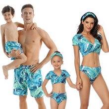 2020 famiglia di Corrispondenza Vestito di Costumi Da Bagno Delle Donne del Costume Da Bagno Madre Figlia Figlio Del Capretto Costume Da Bagno Della Ragazza del Vestito di Nuotata Mayo Bikini Maillot De Bain