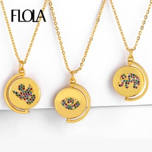 FLOLA Vintage Coin Necklace Gold Woman CZ Evil Eye Elephant Angle Ancient Pendant Figure Rainbow Jewelry nkep54