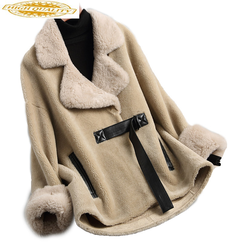 Women's Lamb Wool Jackets 2020 Short Sheep Shearing Coats Real Wool Fur Coat Female Thick Winter Jacket Women 18198