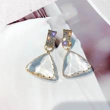 New Exquisite Drop Earrings for Women Party Dating Luxury Square-shaped Color Treasure Two Colors Female Christmas Gift