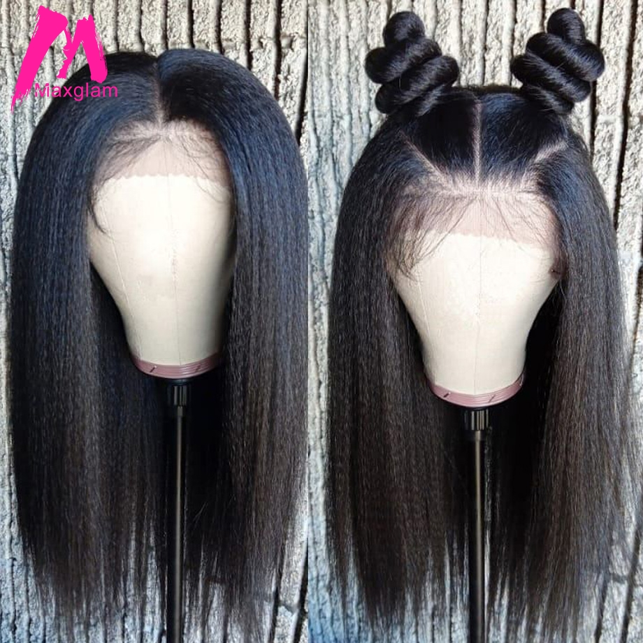 Kinky Straight Lace Front Human Hair Wigs For Black Women Brazilian Short Long Wig Preplucked With Baby Hair 13x4