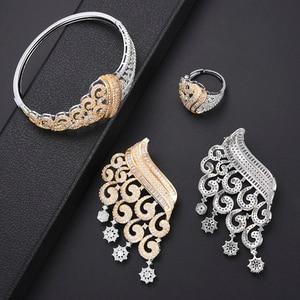 Image 2 - GODKI luxe grimpeur fleur femmes nigérian mariée Naija mariée cubique zircone collier Dubai 4 pièces bijoux ensemble bijoux dépendance
