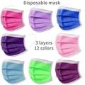 10-100 шт. одноразовые нетканые 3-слойный фильтр Маска Цвет: фиолетовый, розовый, ярко-зеленый и лицевая маска для взрослых дышащая разноцветна...