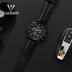 Image 4 - Cadien montre de luxe pour hommes, montre bracelet à Quartz, étanche, Phase lunaire, mode montre cuir décontractée