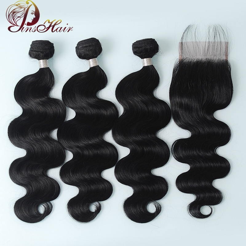 Pinshair Brazilian Hair Body Wave 3 Bundles With Closure Non Remy Human Hair Extensions Natural Color Hair Bundles With Closure