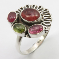Solid Silver Mix Colour TOURMALINE Tribal Style Ring Size 9.75