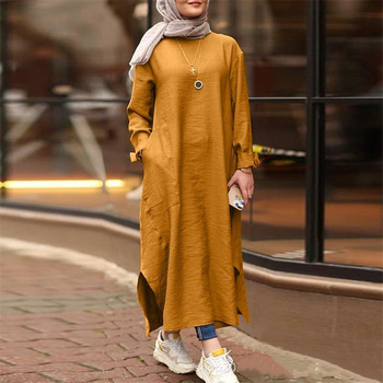 Cotton Linen Women Dress Abaya Indian Dresses Middle East Turkey Kaftan Islamic Clothing Casual Solid