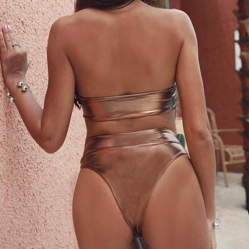 Sfit المرأة مثير بيكيني قطعتين ملابس السباحة الصلبة التعادل عقدة الجبهة ثونغ أسفل طقم ملابس بحر رفع ثوب السباحة مثير biquini