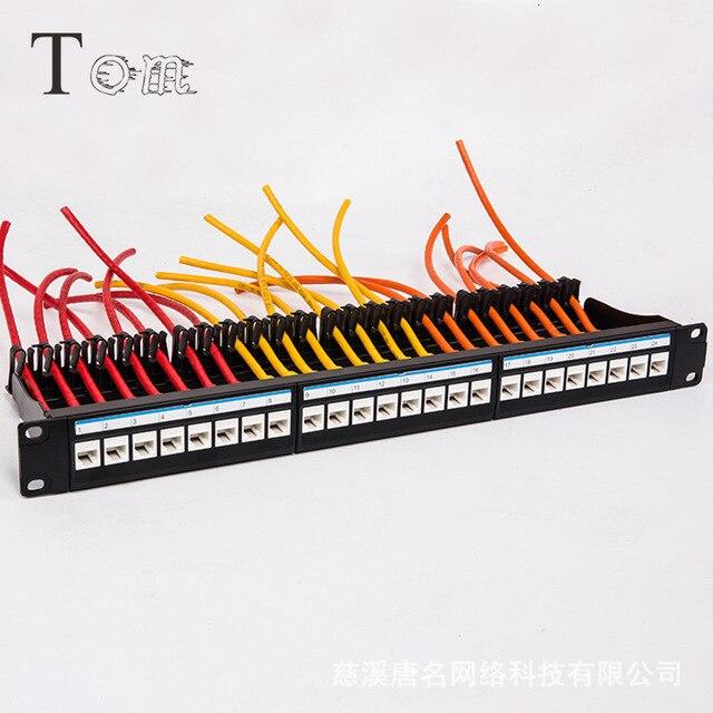 "19"" 1U Rack Pass-through Tie-free 24 Port CAT6 Patch Panel Network Cable RJ45 Adapter Keystone Jack Modular Distribution Frame"