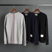 2021 moda tb thom marca primavera outono roupas com capuz jaqueta de algodão das mulheres dos homens sweatshirts o pescoço fino casual casaco esportivo