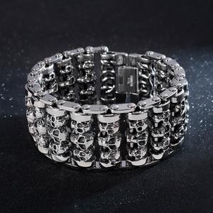 Image 2 - Fongten Vintage Cranio Largo Metal Biker Vichingo In Acciaio Inox Braccialetto di Fascino Grande Argent Degli Uomini del braccialetto Dei Monili