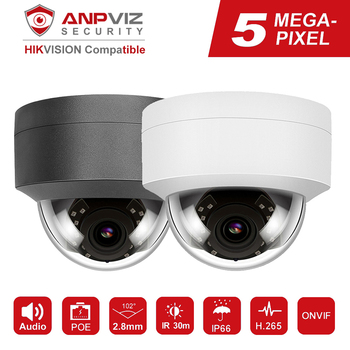 Hikvision Compatible Anpviz 5MP/8MP POE IP Camera With Microphone Audio Security Camera Outdoor POE IP Camera IP66 ONVIF 30M IR