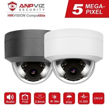 Hikvision Compatible Anpviz 5MP POE IP Camera H.265 Microphone Audio Security Outdoor IP66 ONVIF 30M IR