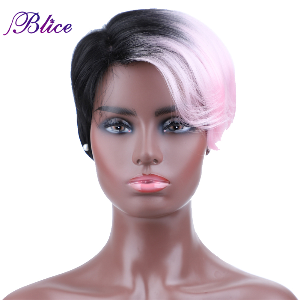 Blice Short Synthetic Wig 8 Inch Straight Mix Color FT1B /Pink Left-Side Bang Machine Made Wig For Women