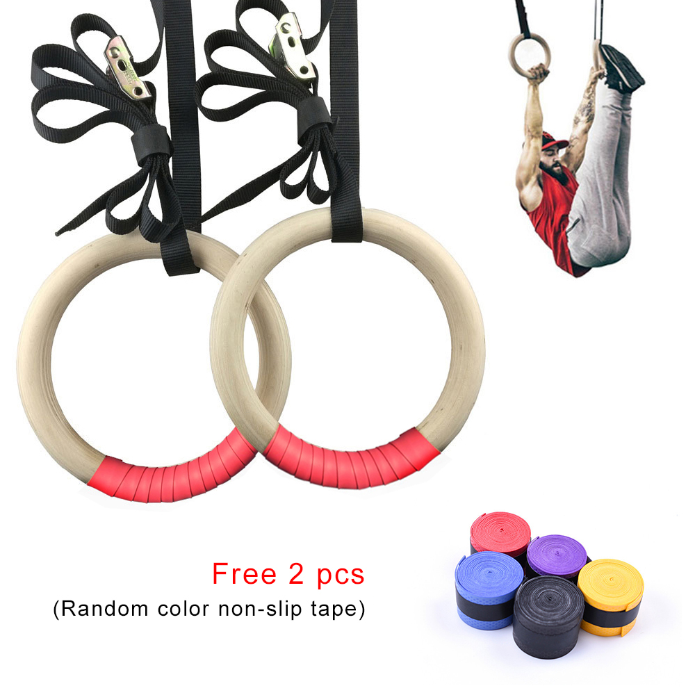 28mm 32mm Professional Wood Gymnastic Rings Gym Rings With Adjustable Long Buckles Straps Workout For Home Gym Cross Fitness A