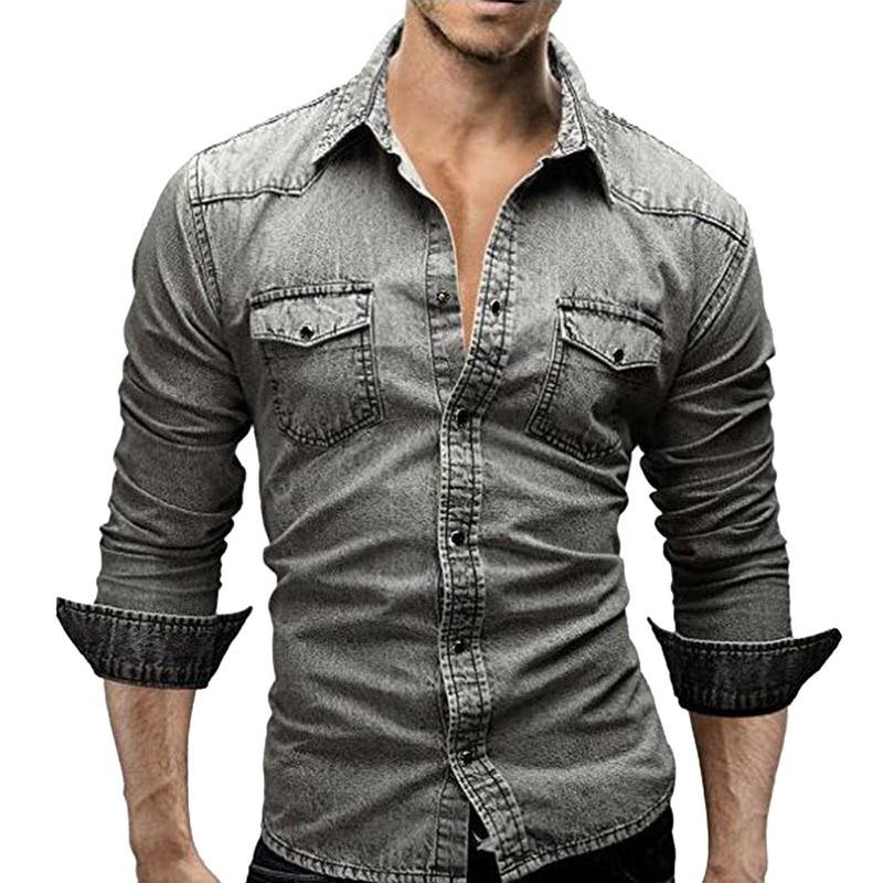 2019 Hot Sale Autumn Denim Shirt Men Cotton Jeans Shirt Slim Fit Long Sleeve Cowboy Shirt Stylish Wash Tops Asian Plus Size 3XL