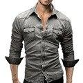 Adisputent 2020 Осенняя джинсовая рубашка мужская хлопковая джинсовая рубашка приталенная ковбойская рубашка с длинным рукавом стильные потерты...