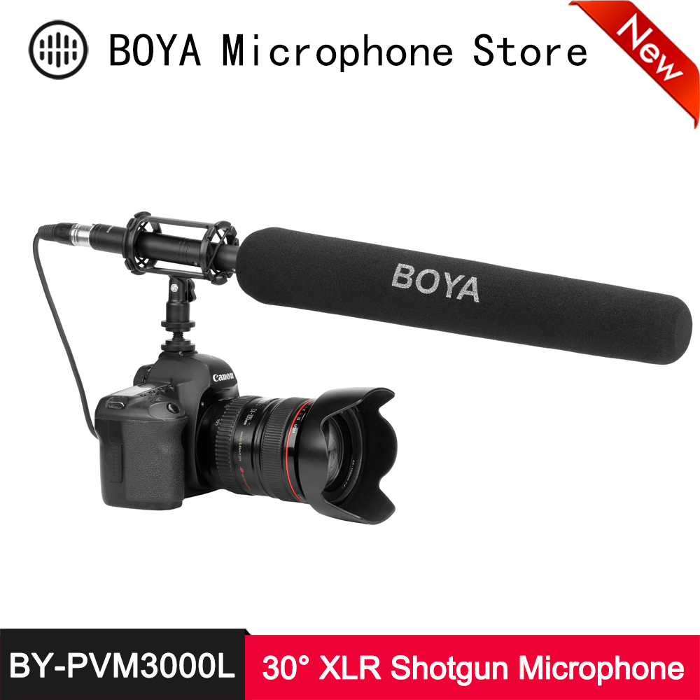 BOYA BY-PVM3000L Shotgun Microphone 30° Supercardioid Electret Condenser Mic for DSLR Camera Camcorder Audio Recorder Interview