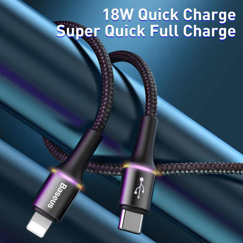 Baseus 18W PD rápida Cable de carga para iPhone 11 Pro Max Xs Xr USB tipo C para Cable Lightning X 8 para iPhone 7 Plus cargador