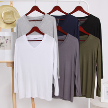 2021 New Casual V-neck Men's Sleep Tops Spring Summer Thin Homewear Cool Soft Sleepwear Top Solid Color Male Home Costumes
