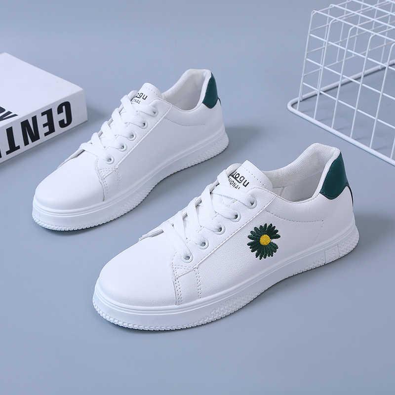 Kadın Sneakers moda nefes vulkanize ayakkabı Pu deri platformu Lace up Casual beyaz Tenis Feminino Zapatos De Mujer E579