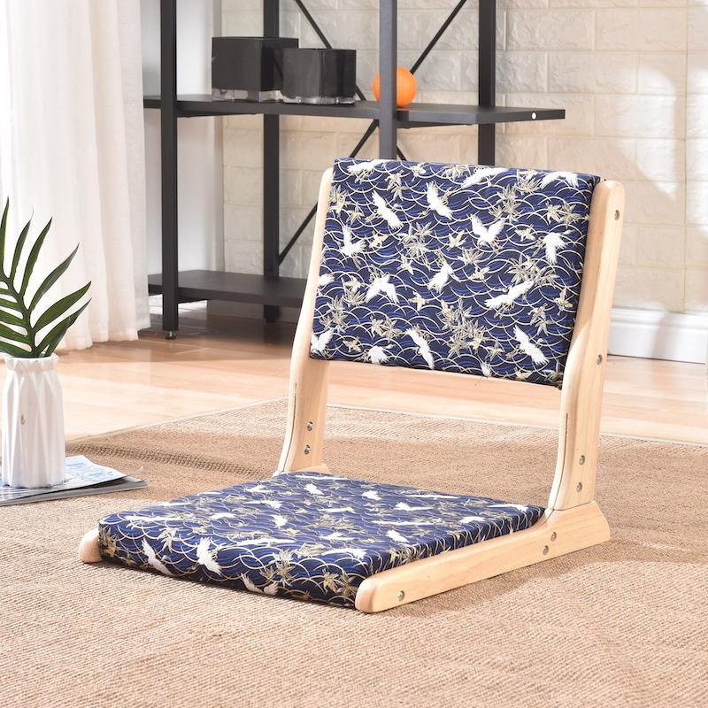 Padded Folding Floor Zaisu Japanese Tatami Legless Chair Back Support Foldable Portable Living Room Chair For Meditation Reading