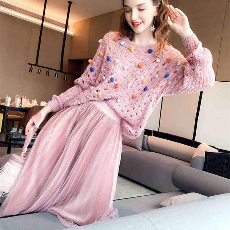 2 Pcs Pink Spring Autumn Fashion Oversized Knit Colorful Balls Sweater And Sequines Shinny Long Party Skirt Pretty Suit NS147