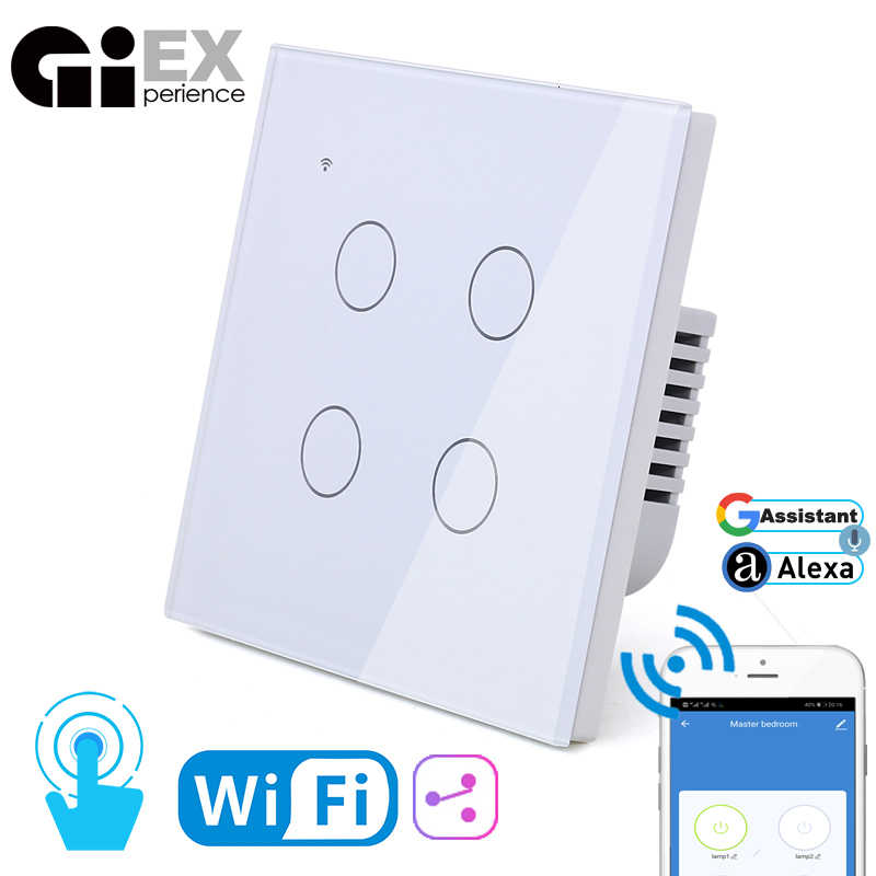 WIFI Touch Light Wall Switch White Glass Panel Blue LED EU & UK Universal Smart Home Phone Control 4 Gang 2 Way 90-240V Round