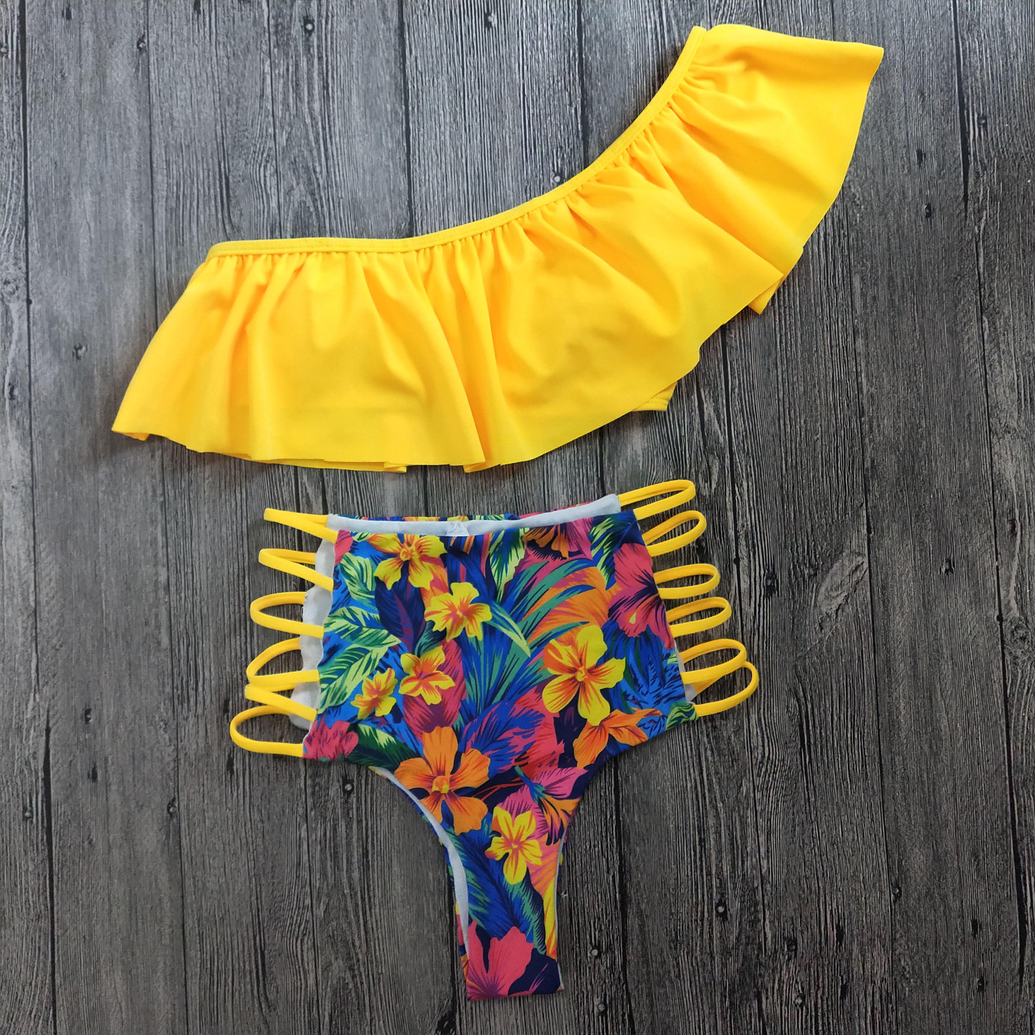 H9f8f7fe627d0463883e91a29a8826c5aF 2019 Sexy Brazilian Bikini Swimwear Women Halter Push Up Bikini Set Swimsuit Female Floral Print Bandage Biquini Bathing Suit